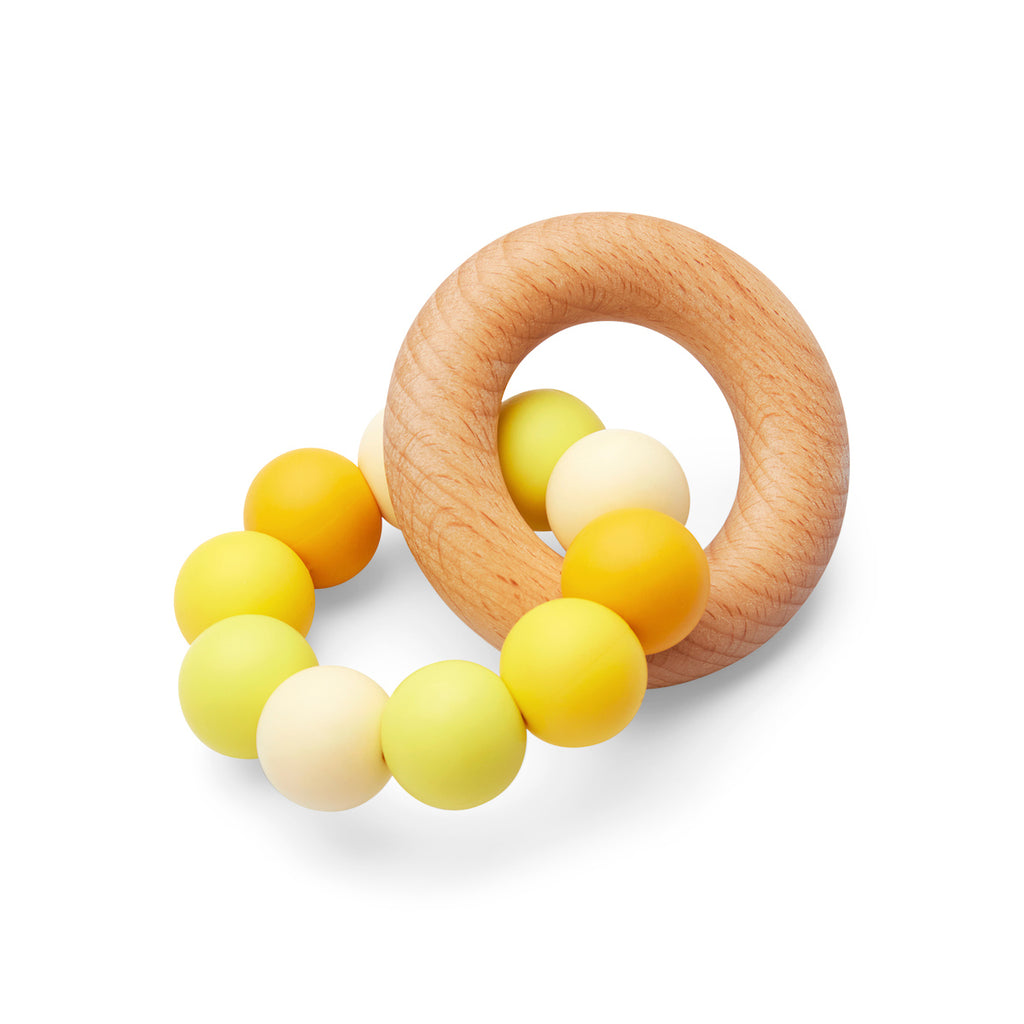 Silicone and Wood Teether  Yellow