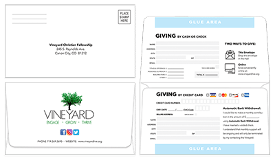 Remittance and Donation Envelopes for Church or Business
