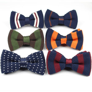 Men's Tuxedo Knitted Bow Tie Thick Double Deck Pre-Tied Adjustable Knitting Casual Ties