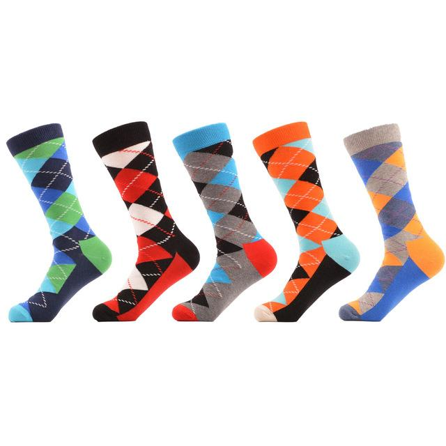 SANZETTI 5 pair/lot Men's Combed Cotton Socks Multi Colorful Funny Pattern Casual Crew Socks Happy Party Dress Crazy Socks