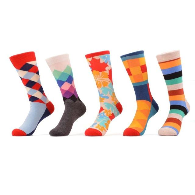 SANZETTI 5 pair/lot Men's Bright Funny Colorful Casual Cotton Socks Diamond Stripe Crazy Dress Party Great for Father's Day Gift