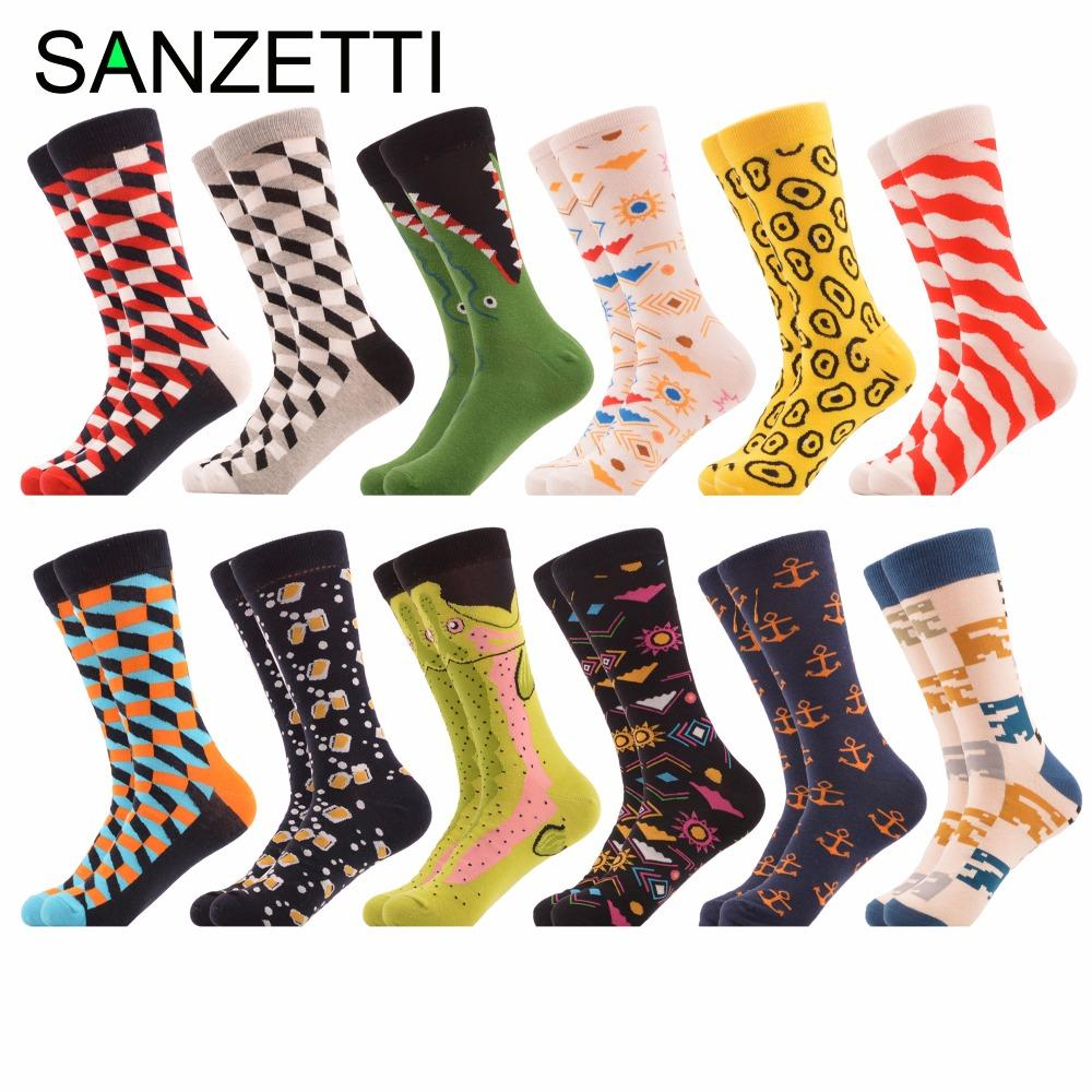 SANZETTI 12 pairs/lot Autumn Winter Men's Casual Combed Cotton Socks Dozen of Dress Colorful Crazy Socks for Male Wedding Gift