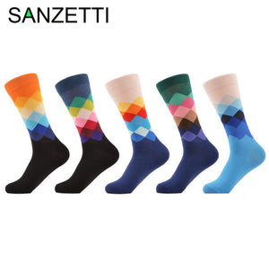 SANZETTI 5 pairs/lot Men's Colorful Argyle Combed Cotton Socks Funny Casual Mid Calf Crew Socks Crazy Dress Socks for Gift
