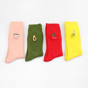 Cherry Banana Peach Premium Funky Men Work Avocado Socks Cotton Happy Short Bamboo Male Loafer Colorful Pop Crazy Trekking Socks