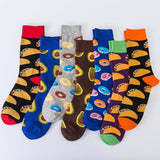 PEONFLY Colorful Men's Combed Cotton Socks Food series Pattern Casual Crew Socks Happy Party Dress Crazy Socks