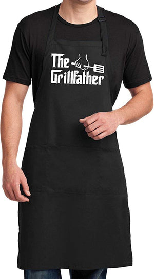 The Grillfather (White Print) Full Length Apron with Pockets Great Gift for the Man in Your Life
