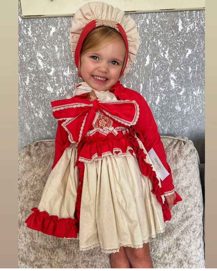 ELA Christmas set, dress, knickers, jacket (bonnet sold separately)