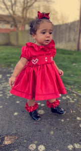 Red satin heart smock (preorder 5/6weeks)