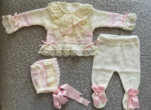 PREORDER LUXURY KNITTED PINK 3piece set