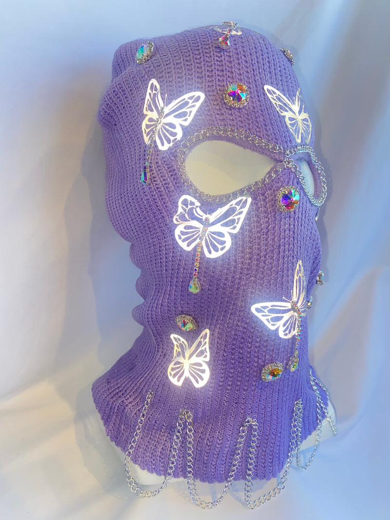 LIMITED EDITION Lavender Reflective Butterfly Ski Mask