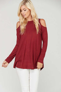Cold Shoulder Solid Long Sleeve Top - Burgundy