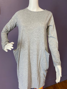 Long Sleeve Slouch Dress with Pockets - Gray