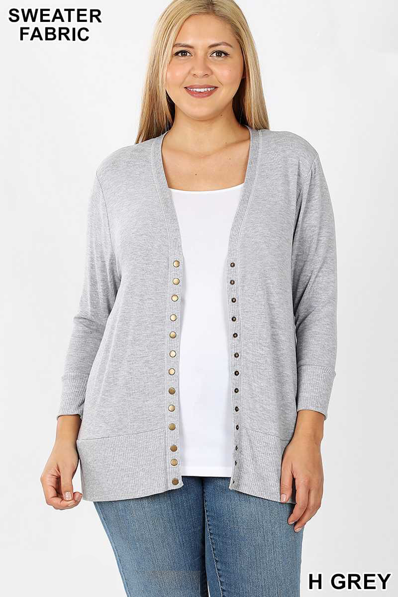 Sleeve Snap Buttons Sweater Cardigan - H Grey
