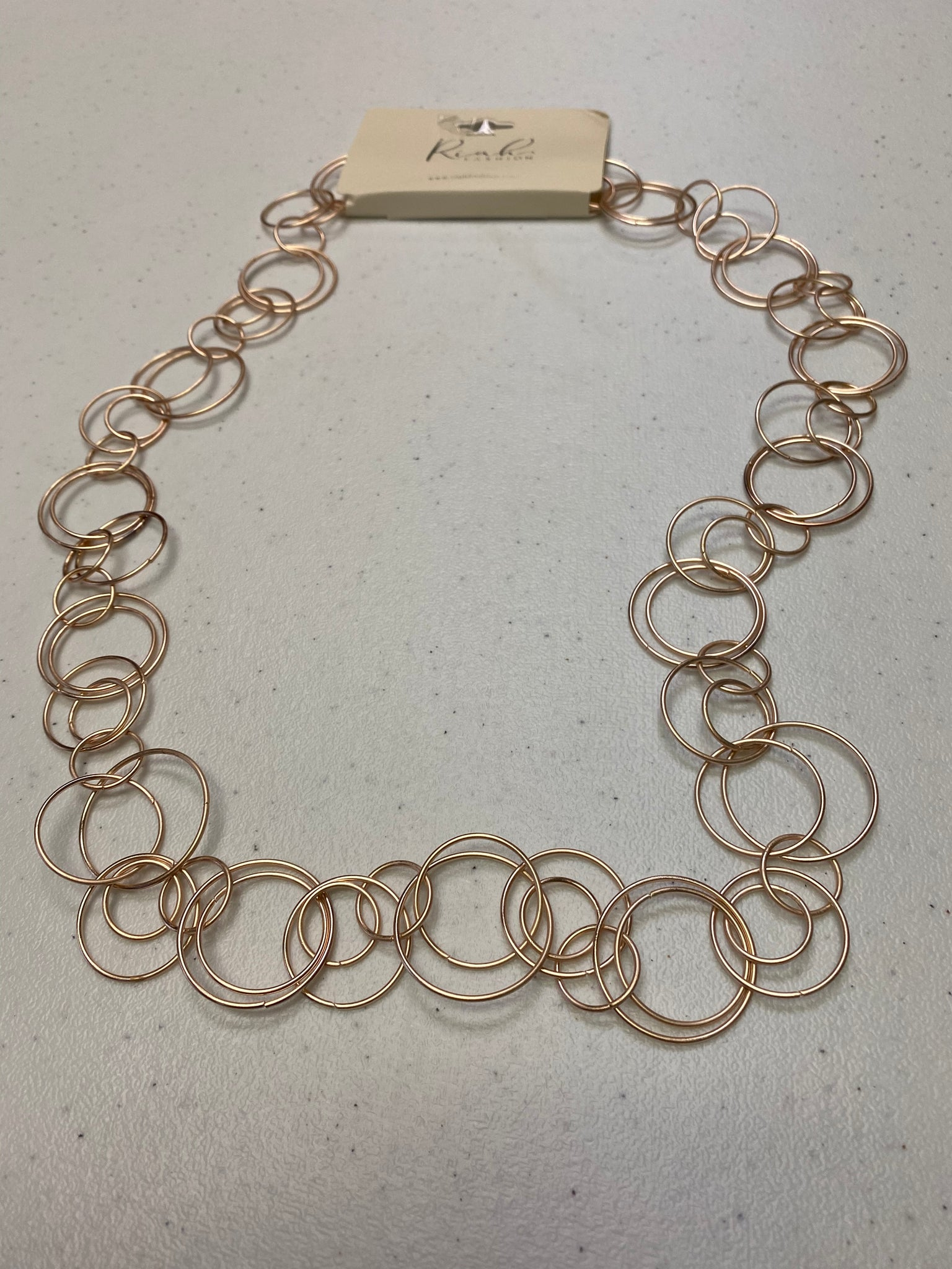 Rose Gold Multiple Linked Hoop Necklace