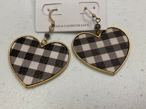 Plaid Heart Drop Earring - Black