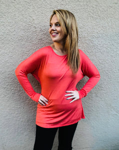 Solid Dolman Long Sleeve Top - Coral