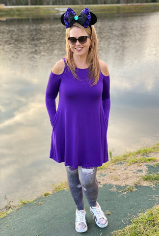 Cold Shoulder Long Sleeve Solid Swing Top w/ Pockets  - Purple