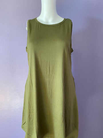 Sleeveless Swing Top With Pockets - Olive Green
