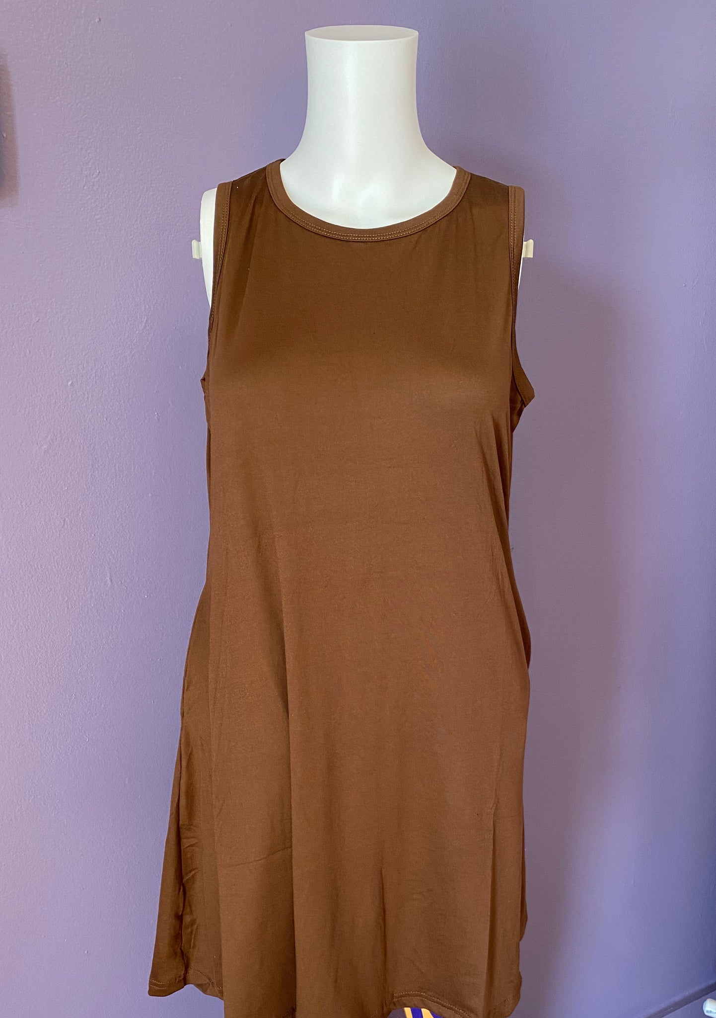 Sleeveless Swing Top With Pockets - Brown
