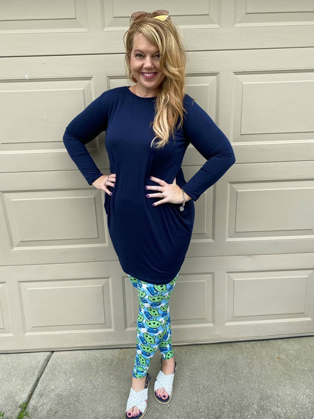 Long Sleeve Slouch Dress with Pockets - Blue