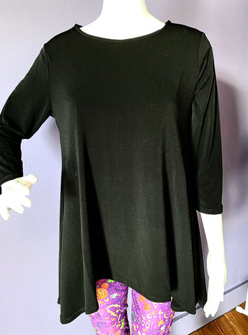 High Low 3/4 Sleeve Solid Top - Black