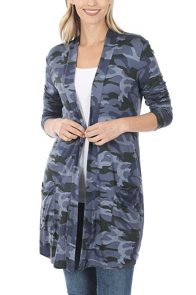 Camouflage Mid-Thigh Length Open Cardigan - Navy Camouflage