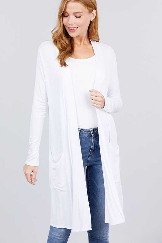 Long Sleeve Open Front With Pocket Long Cardigan - White