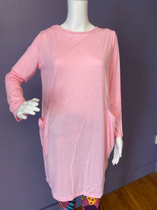 Long Sleeve Slouch Dress with Pockets - Pink
