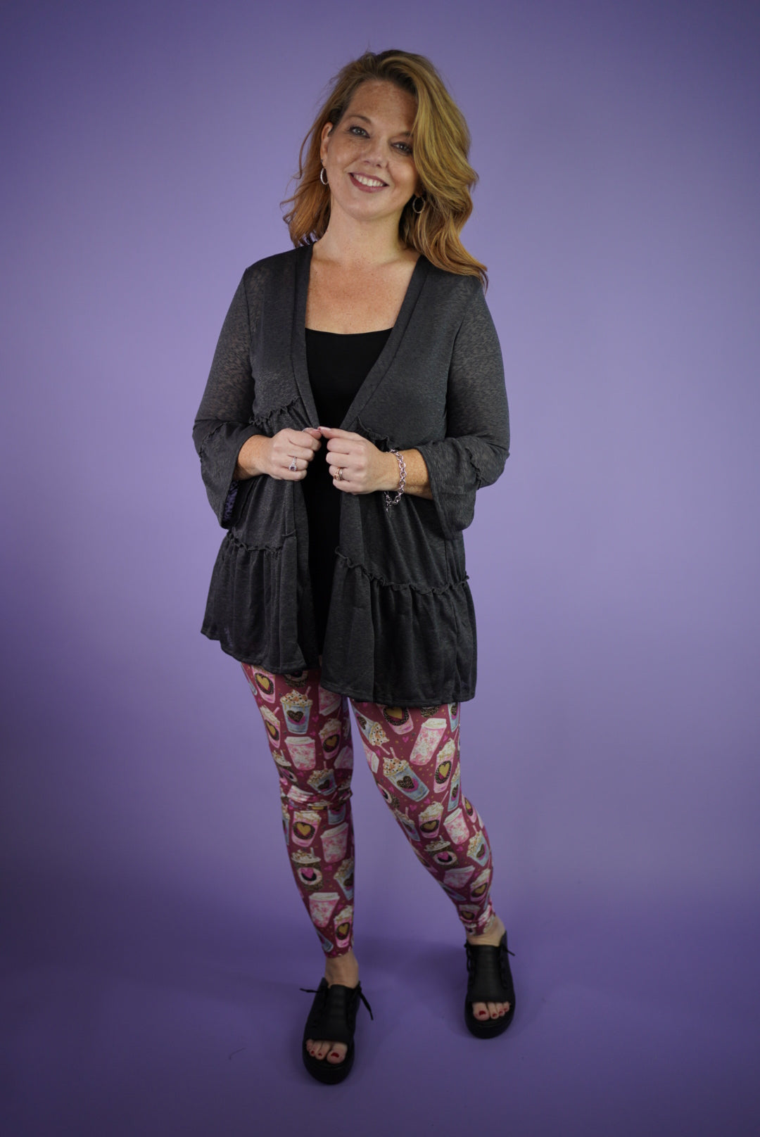 Tiered Semi-Sheer Open Cardigan - Charcoal
