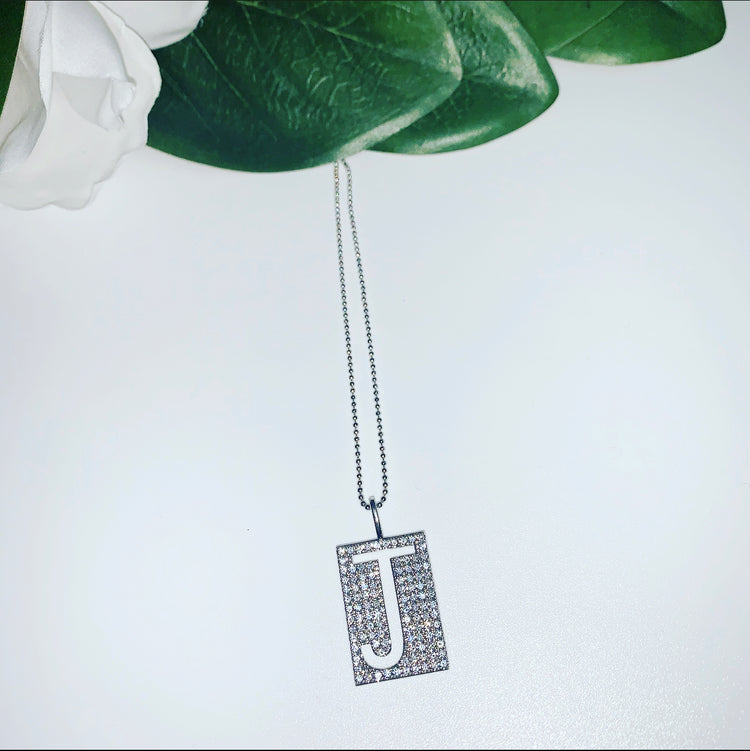 Tag Me Initial Silver Necklace  Kc Chic Designs Pendant Necklace kc-chic-designs.myshopify.com Kc Chic Designs