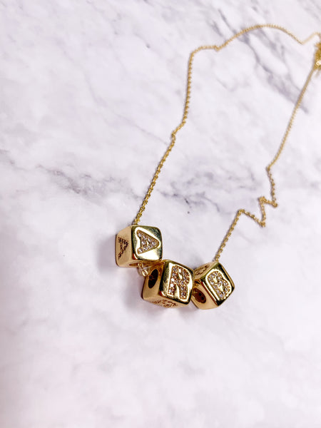 Personalize Me Crystal Cube Necklace