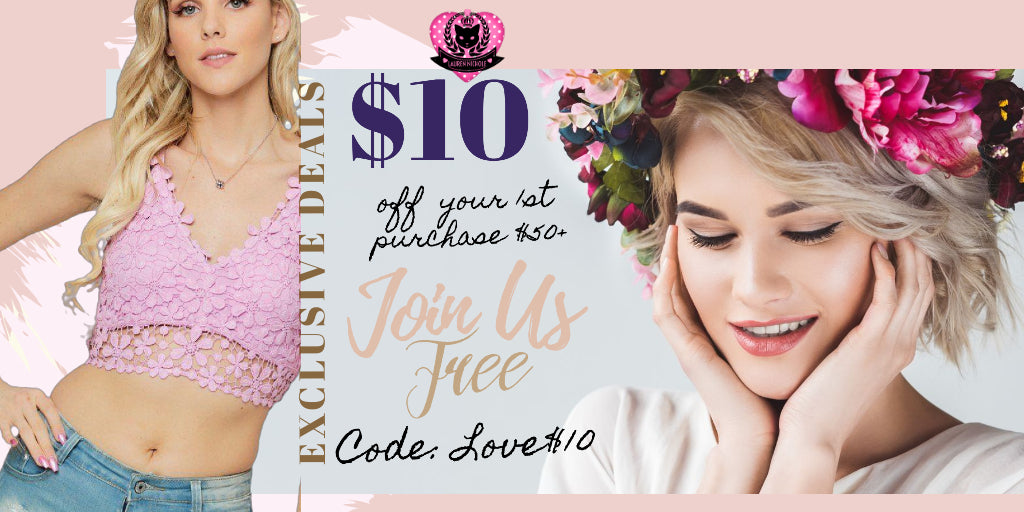 Get $10 off your 1st purchase $50+ when you join us free. Exclusive privileges only at LaurenNichole. Women's tops, dresses, bottoms, jumpsuits, rompers, women's fashion accessories, body jewelry, women's graphic t shirts, handbags and more