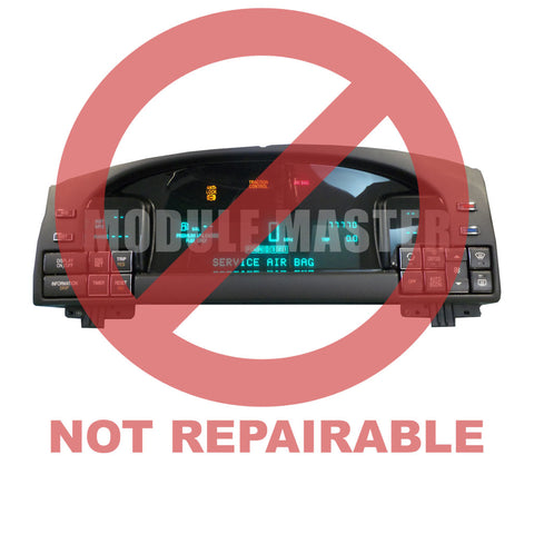 Cadillac Deville Digital Instrument Cluster with LCD screen and buttons. Power is on and the screen and various lights are lit. Red watermark that says not repairable across cluster.