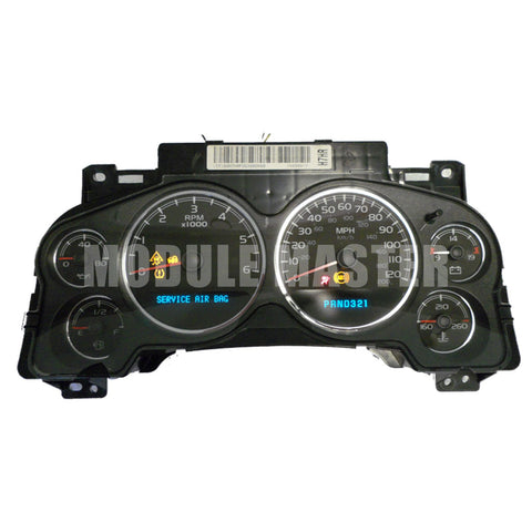 Chevrolet and GMC instrument cluster with six gauges and two LCD screens. Unit is powered up and various lights are on.