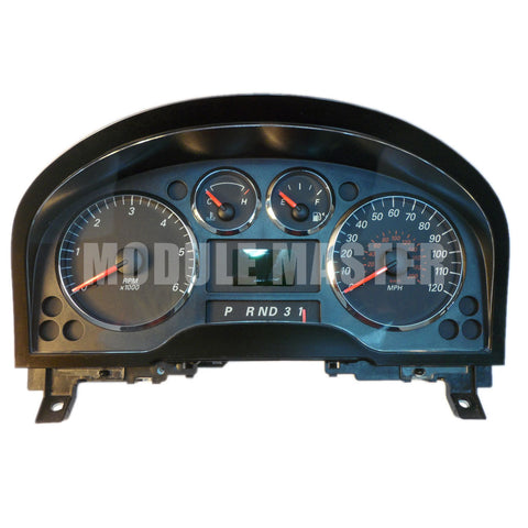 Ford Freestar instrument cluster with four gauges and a small screen in the middle of the cluster.