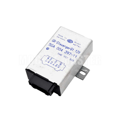 Hella Cruise Control Module with Made in Germany and other identifying labels on the front. For Audi, Land Rover, Saab, and Volkswagon vehicles.