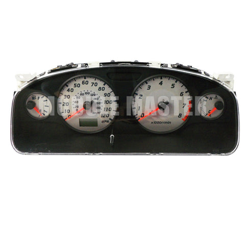 Nissan Maxima Instrument Cluster with four gauges that have white backgrounds. A small screen is located under the speedometer.