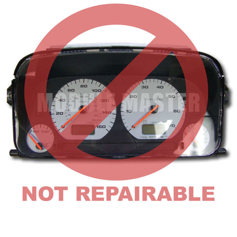 Volkswagon Instrument Cluster for Cabrio, GTI, Golf, Jetta with four white gauges and two LCD screens. Red Watermark that says not repairable over it.