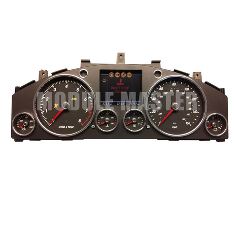 Volkswagon Toureg Instrument Cluster with six gauges and large LCD screen in center. Screen has insufficient coolant warning and ABS light on.