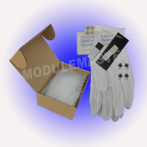 Audi Climate Control LCD Repair Kit including gloves, alcohol swabs, protective film, and LCDs- Module Rebuild