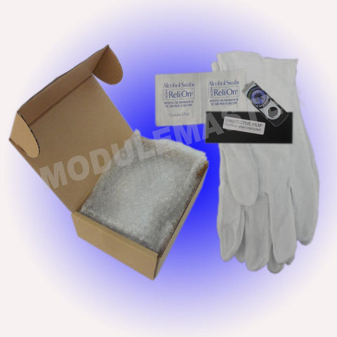 Porsche Climate Control LCD Repair Kit including gloves, instructions, protective film, and more.
