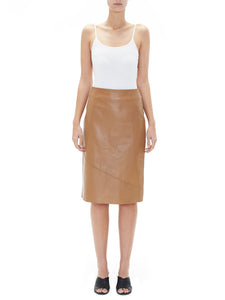 Leather Skirt in Caramel