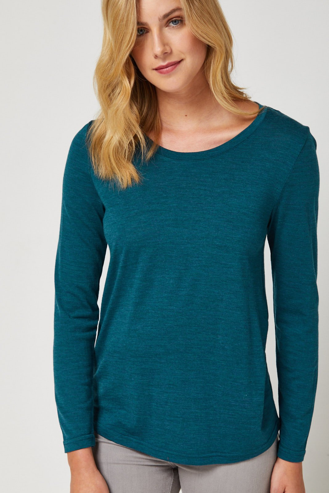 Scooped Hem Merino Top in Atlantic