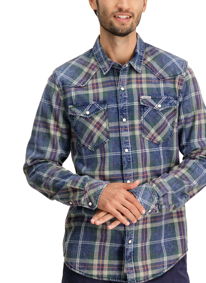 Indigo & Green Plaid Shirt