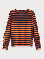 Classic Breton Tee with Ruffles in Navy & Coral