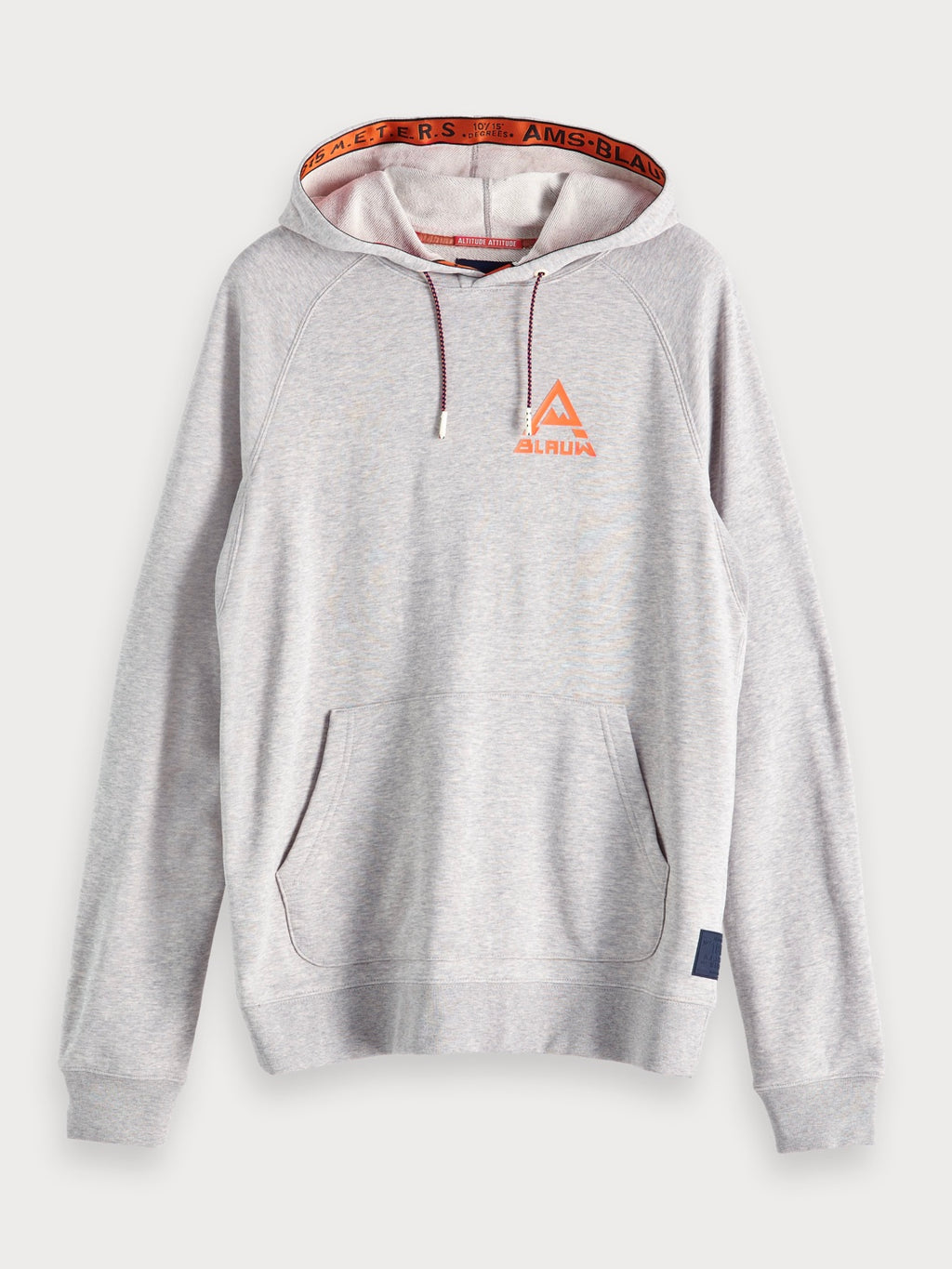 Hoodie with Tape in Grey Melange
