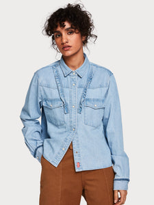 Denim Western Shirt in Bleached Out