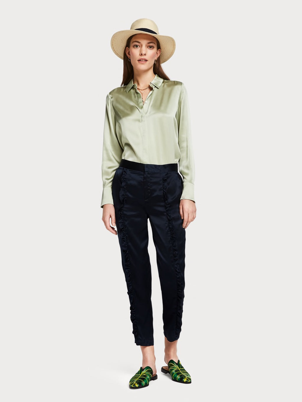 Ruffled Tailored Pant in Night