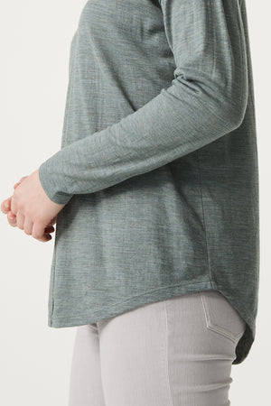 V Neck Merino Tee in Sage