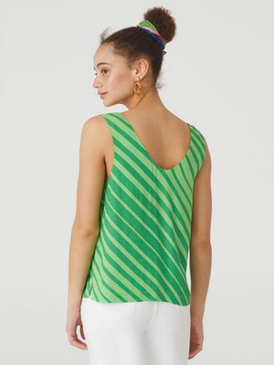 Bias Stripe Top in Green